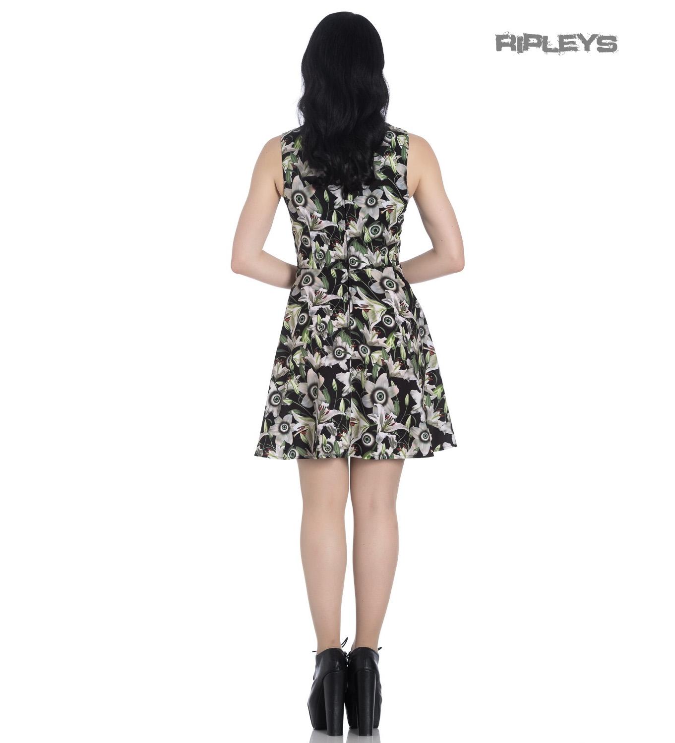 Hell-Bunny-Black-Lace-Up-Goth-Punk-Mini-Dress-PEEPERS-Eyeballs-Flowers-All-Sizes thumbnail 42
