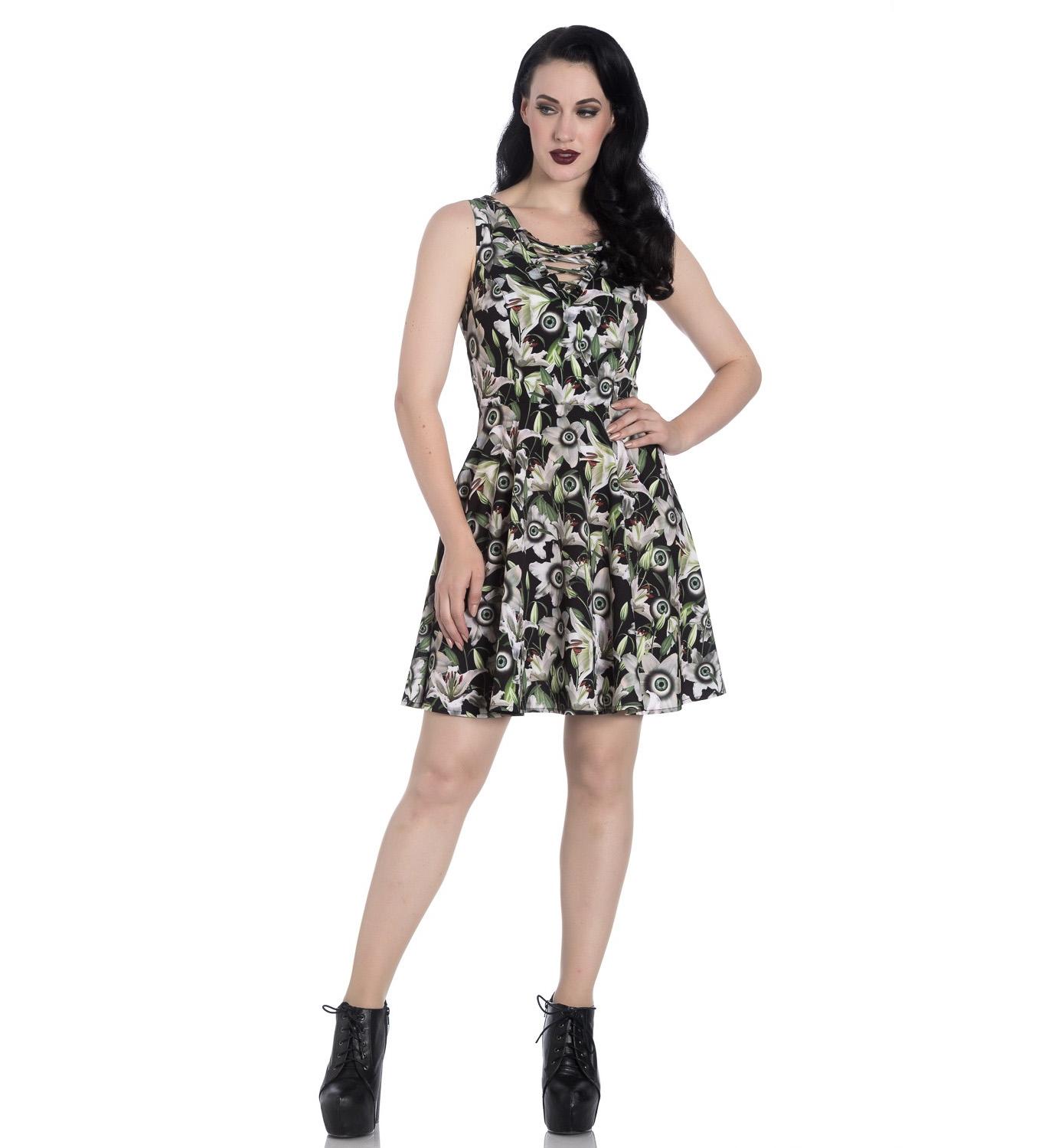 Hell-Bunny-Black-Lace-Up-Goth-Punk-Mini-Dress-PEEPERS-Eyeballs-Flowers-All-Sizes thumbnail 45