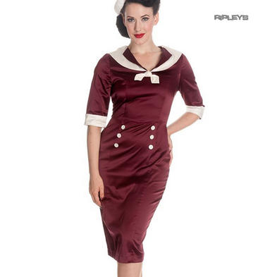Hell Bunny Nautical Pinup Party Cocktail Wiggle Dress SANDRA DEE Burgundy