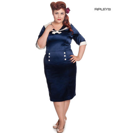Hell Bunny Nautical Pinup Cocktail Wiggle Dress SANDRA DEE Navy Blue All Sizes
