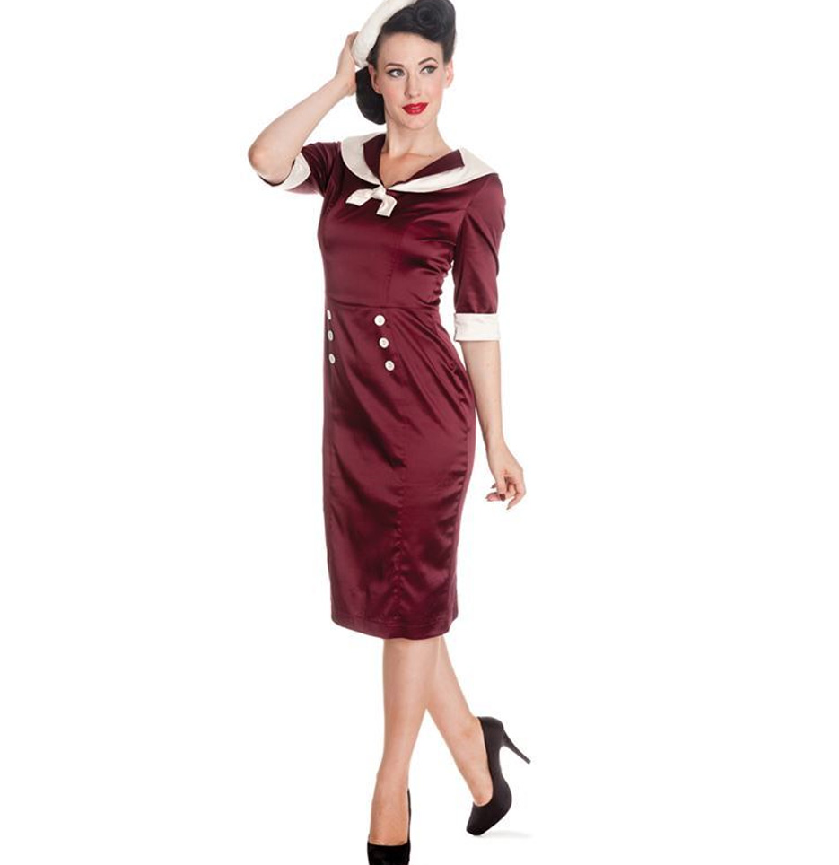 Hell-Bunny-Nautical-Pinup-Party-Cocktail-Wiggle-Dress-SANDRA-DEE-Burgundy thumbnail 4