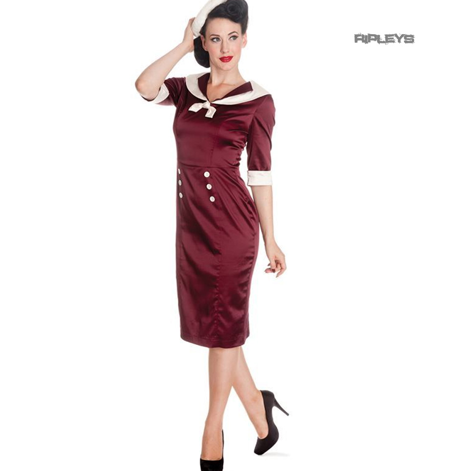 Hell-Bunny-Nautical-Pinup-Party-Cocktail-Wiggle-Dress-SANDRA-DEE-Burgundy thumbnail 5