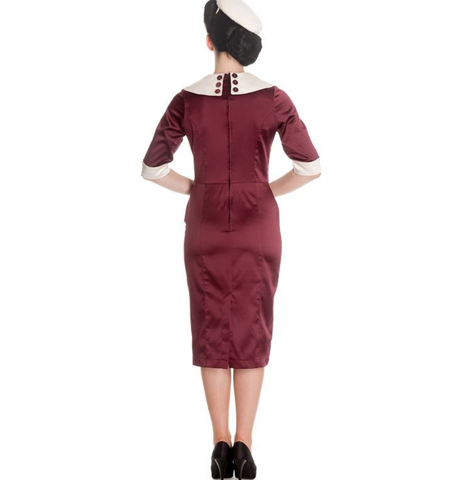 Hell-Bunny-Nautical-Pinup-Party-Cocktail-Wiggle-Dress-SANDRA-DEE-Burgundy thumbnail 7