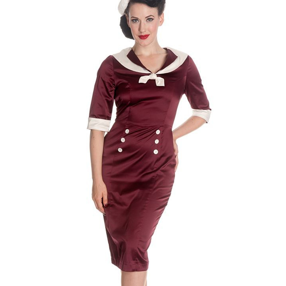 Hell-Bunny-Nautical-Pinup-Party-Cocktail-Wiggle-Dress-SANDRA-DEE-Burgundy thumbnail 3