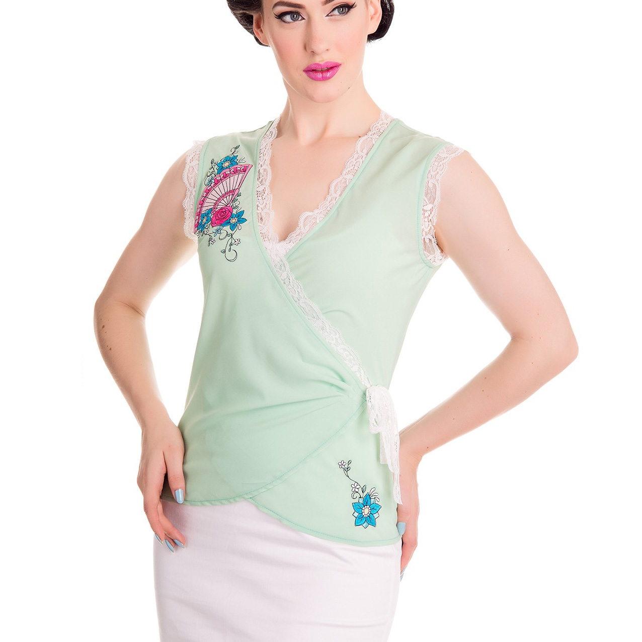 Hell-Bunny-Shirt-40s-50s-Top-Chiffon-Blouse-KYOTO-Wrap-Lace-Green-All-Sizes thumbnail 3