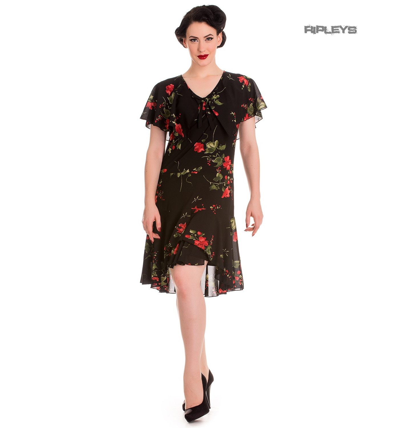 Hell Bunny 20s 40s Black Flapper Cocktail Party Dress LILY Floral ...