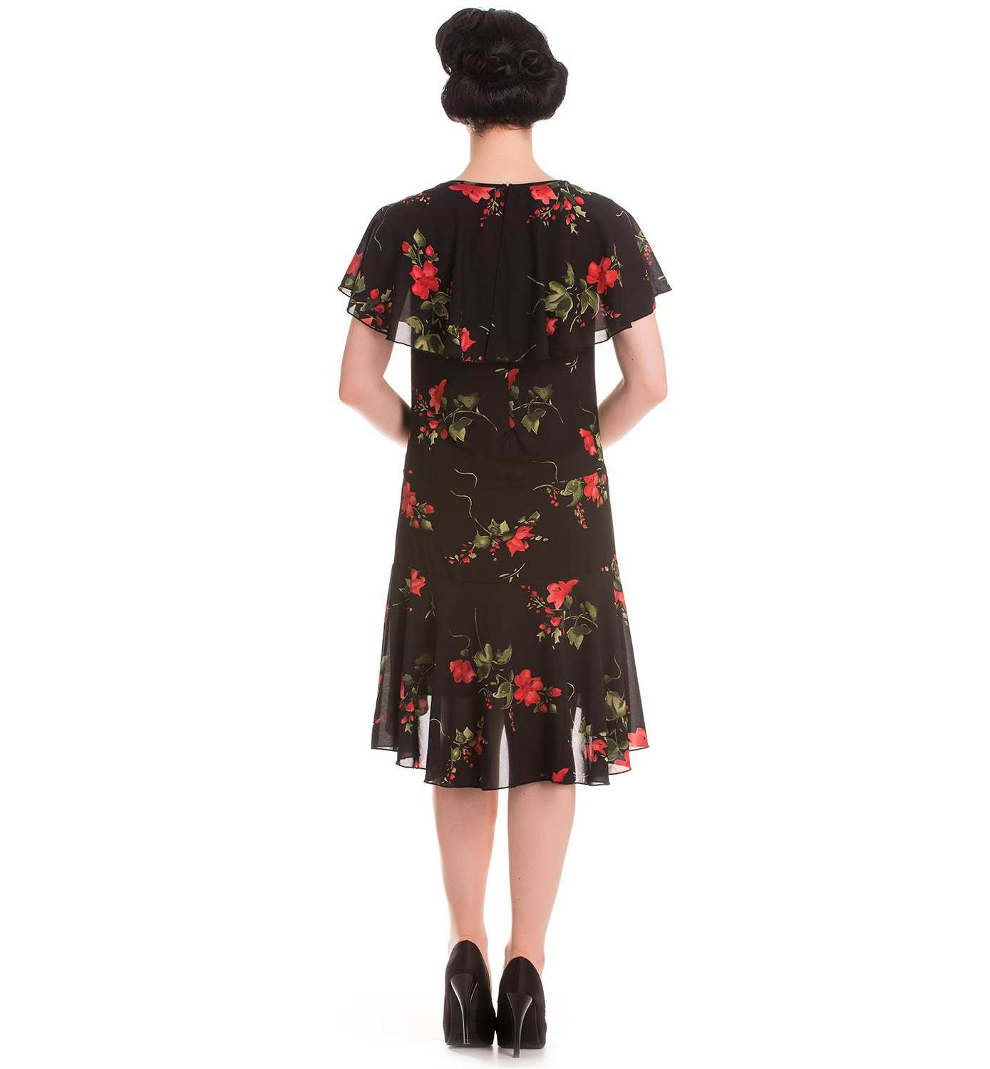 Hell-Bunny-20s-40s-Black-Flapper-Cocktail-Party-Dress-LILY-Floral-Black-All-Size thumbnail 5