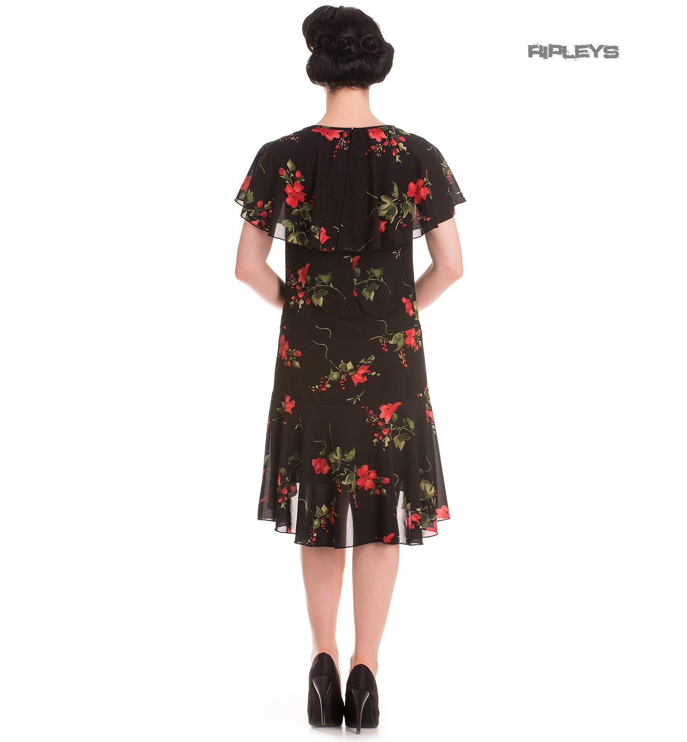 Hell-Bunny-20s-40s-Black-Flapper-Cocktail-Party-Dress-LILY-Floral-Black-All-Size thumbnail 4