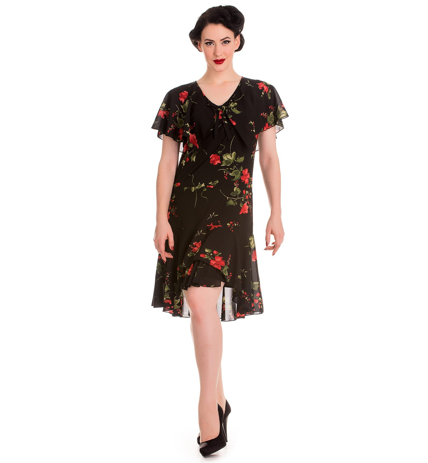 Hell-Bunny-20s-40s-Black-Flapper-Cocktail-Party-Dress-LILY-Floral-Black-All-Size thumbnail 7