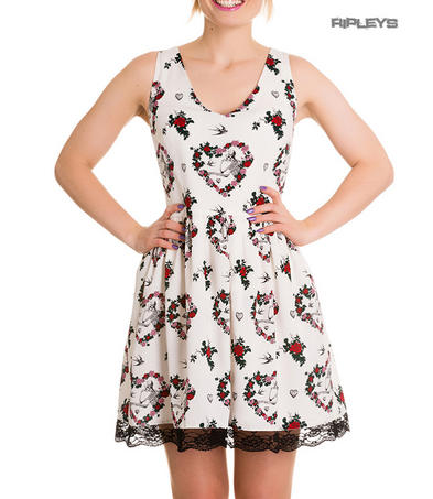 Hell Bunny Goth Punk Skeleton White Mini Dress LOVE Flowers Lace All Sizes