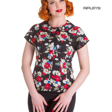 Hell Bunny 50s Shirt Top Blouse Floral Vintage HEATHER Black Flowers All Sizes