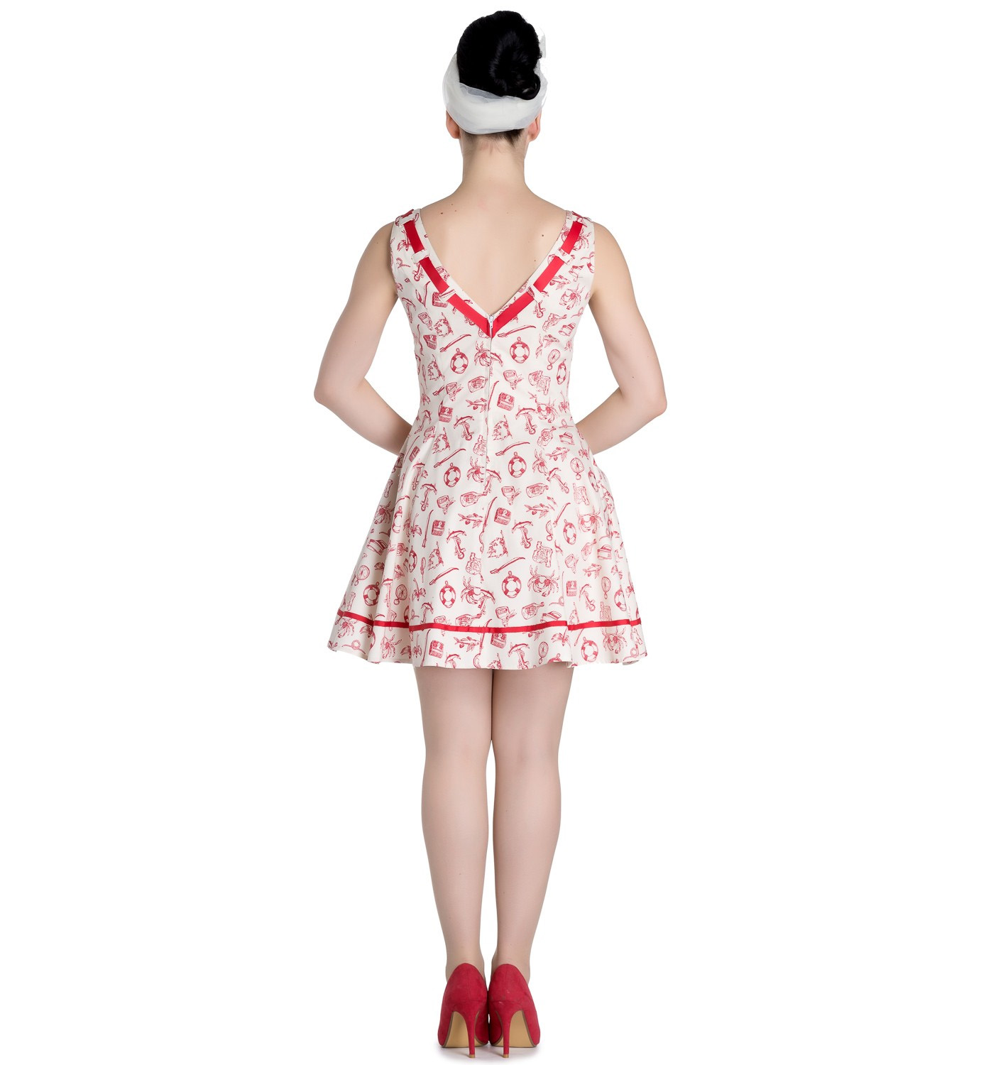 Hell-Bunny-50s-Mini-Sailor-Nautical-Dress-ALIZEA-Ivory-amp-Red-All-Sizes thumbnail 5