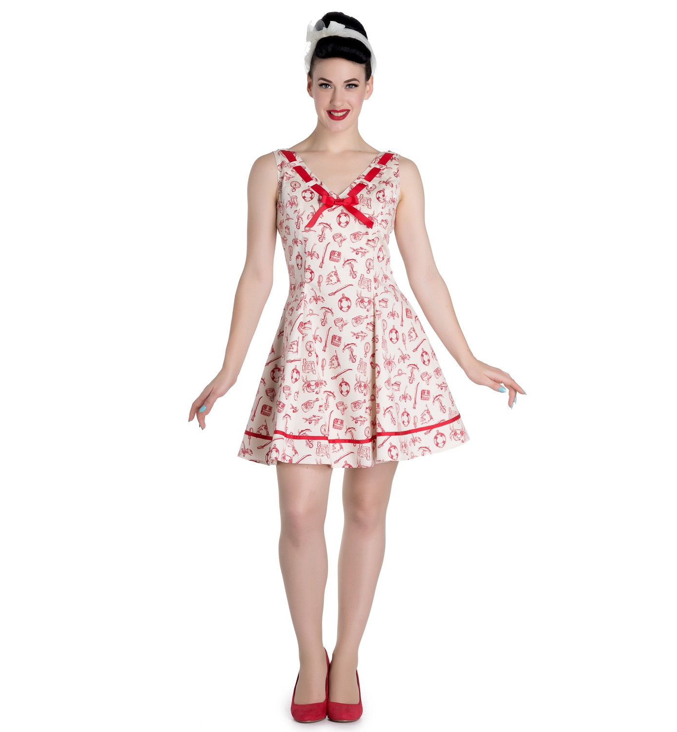 Hell-Bunny-50s-Mini-Sailor-Nautical-Dress-ALIZEA-Ivory-amp-Red-All-Sizes thumbnail 7
