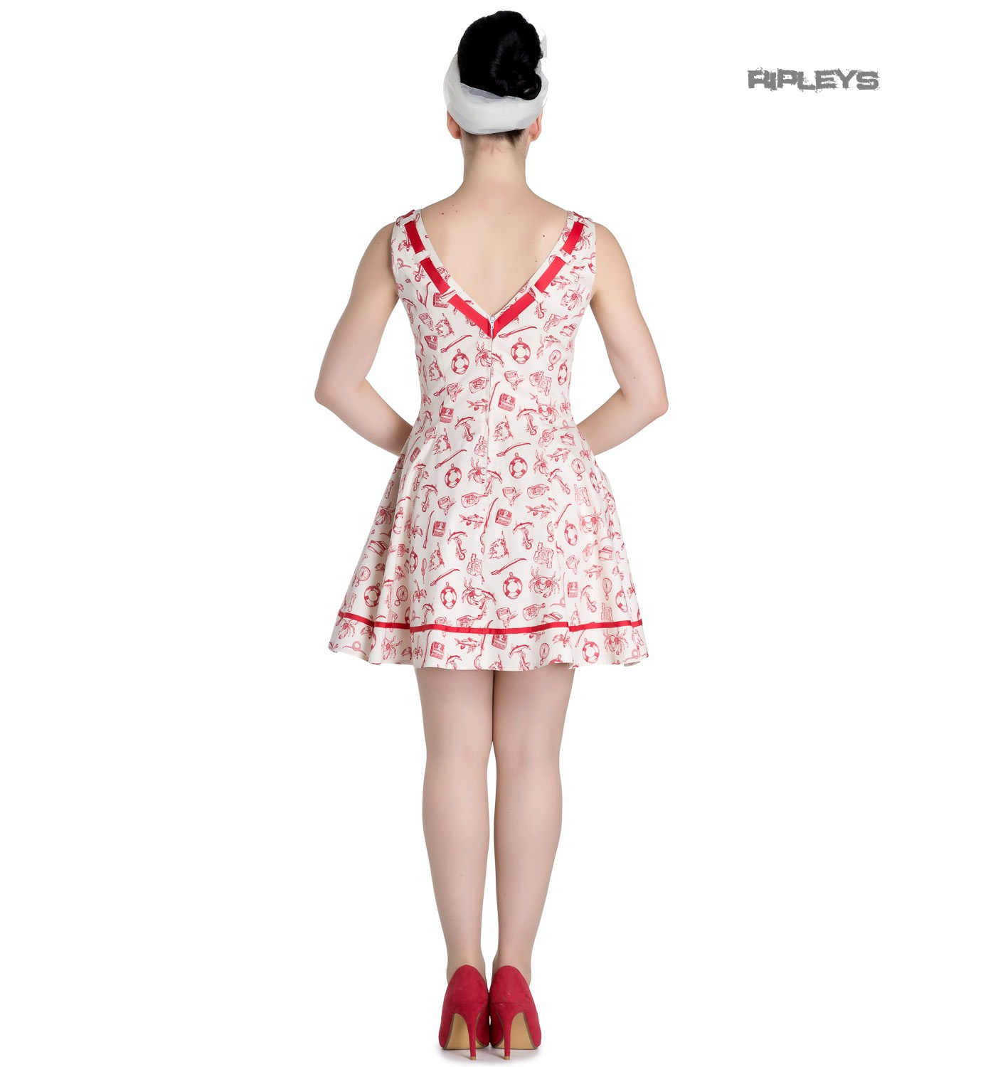 Hell-Bunny-50s-Mini-Sailor-Nautical-Dress-ALIZEA-Ivory-amp-Red-All-Sizes thumbnail 8