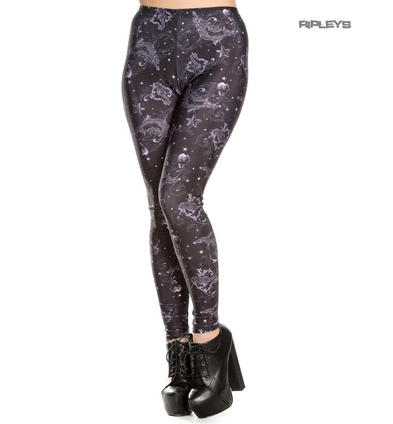 HELL BUNNY Purple Black Goth Leggings DARK SEA Mermaid Skeletons Stars All Sizes