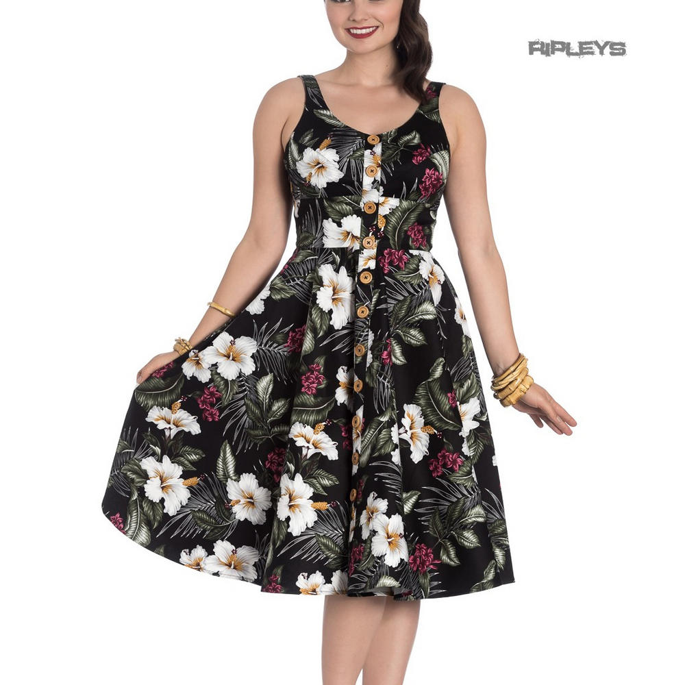5d834e055e31 Hell Bunny Vintage 50s Pin Up Dress TAHITI Tropical Flowers Black All Sizes