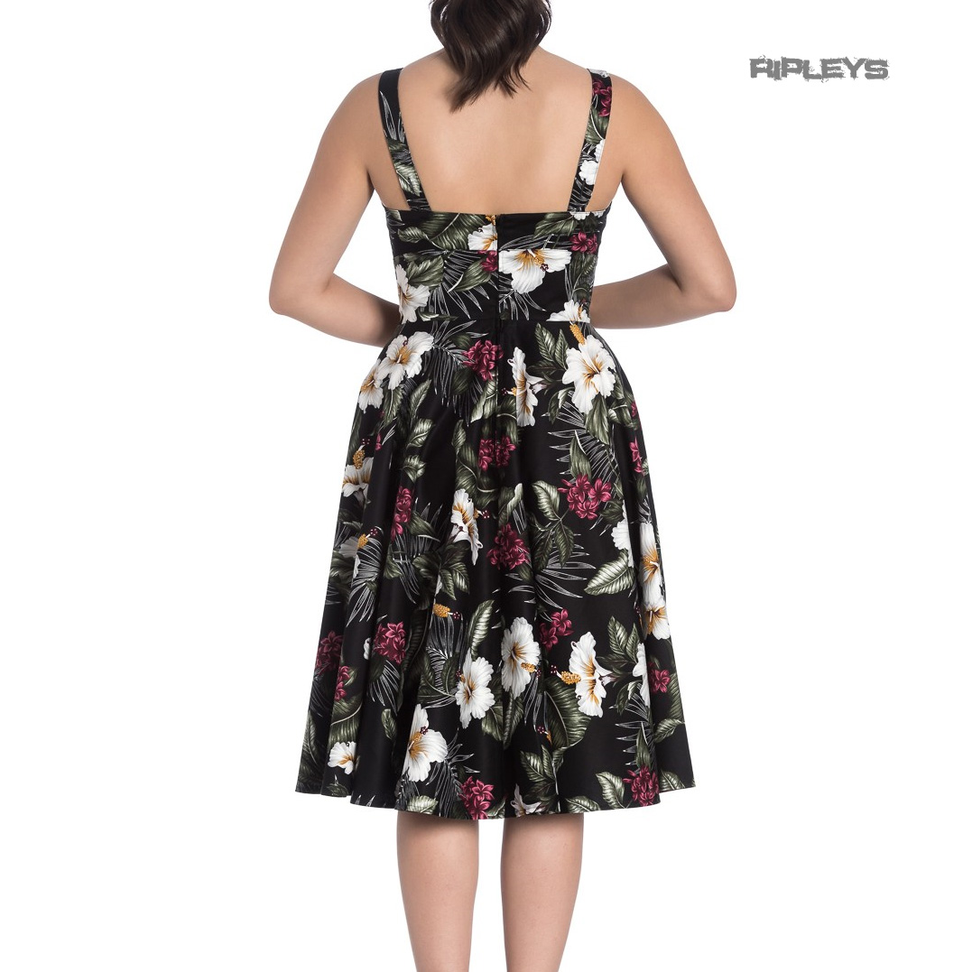 Hell-Bunny-Vintage-50s-Pin-Up-Dress-TAHITI-Tropical-Flowers-Black-All-Sizes thumbnail 8