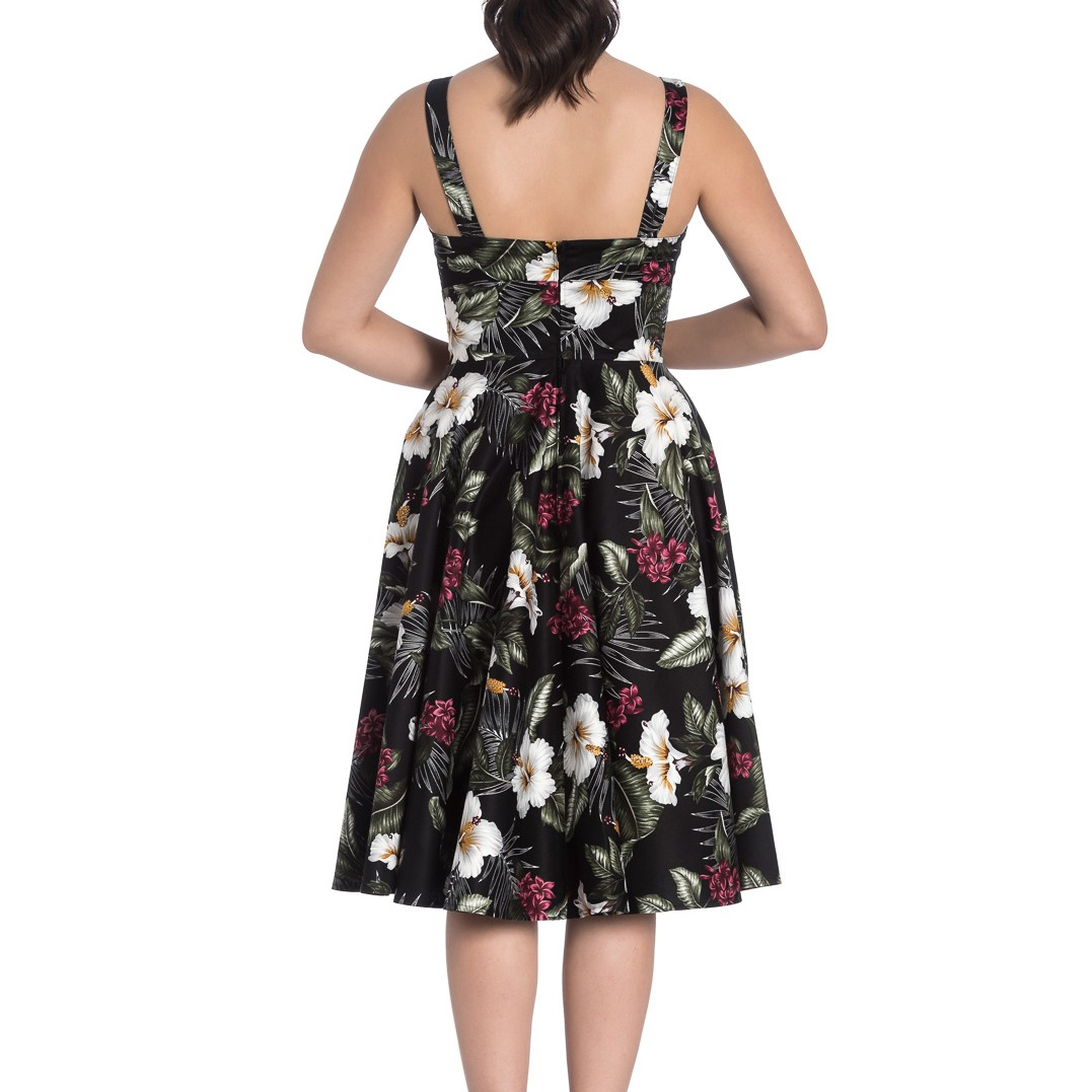 Hell-Bunny-Vintage-50s-Pin-Up-Dress-TAHITI-Tropical-Flowers-Black-All-Sizes thumbnail 9