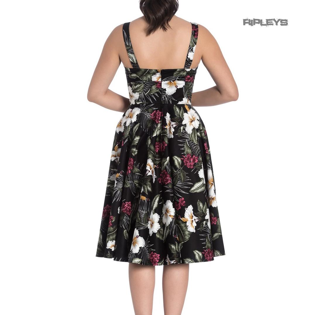 Hell-Bunny-Vintage-50s-Pin-Up-Dress-TAHITI-Tropical-Flowers-Black-All-Sizes thumbnail 12
