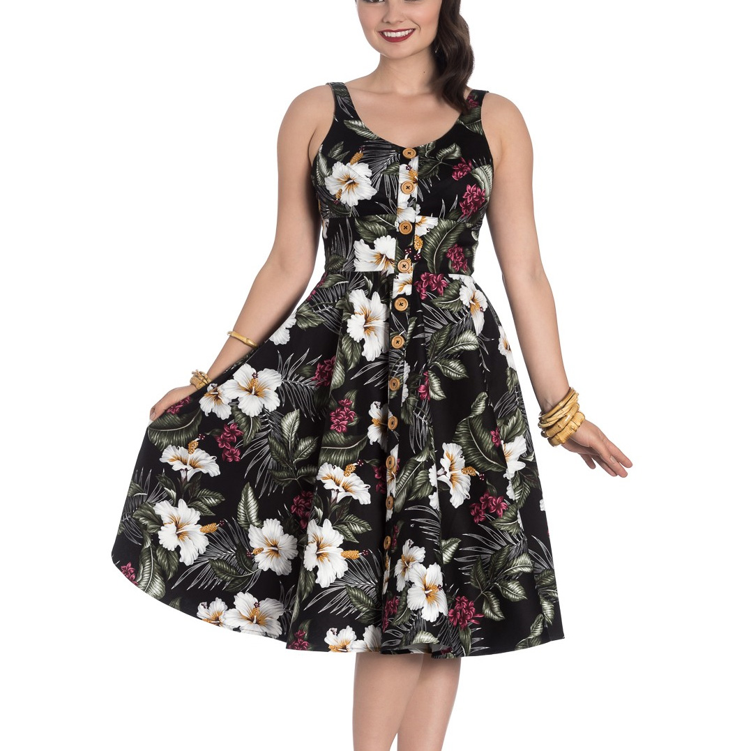 Hell-Bunny-Vintage-50s-Pin-Up-Dress-TAHITI-Tropical-Flowers-Black-All-Sizes thumbnail 3