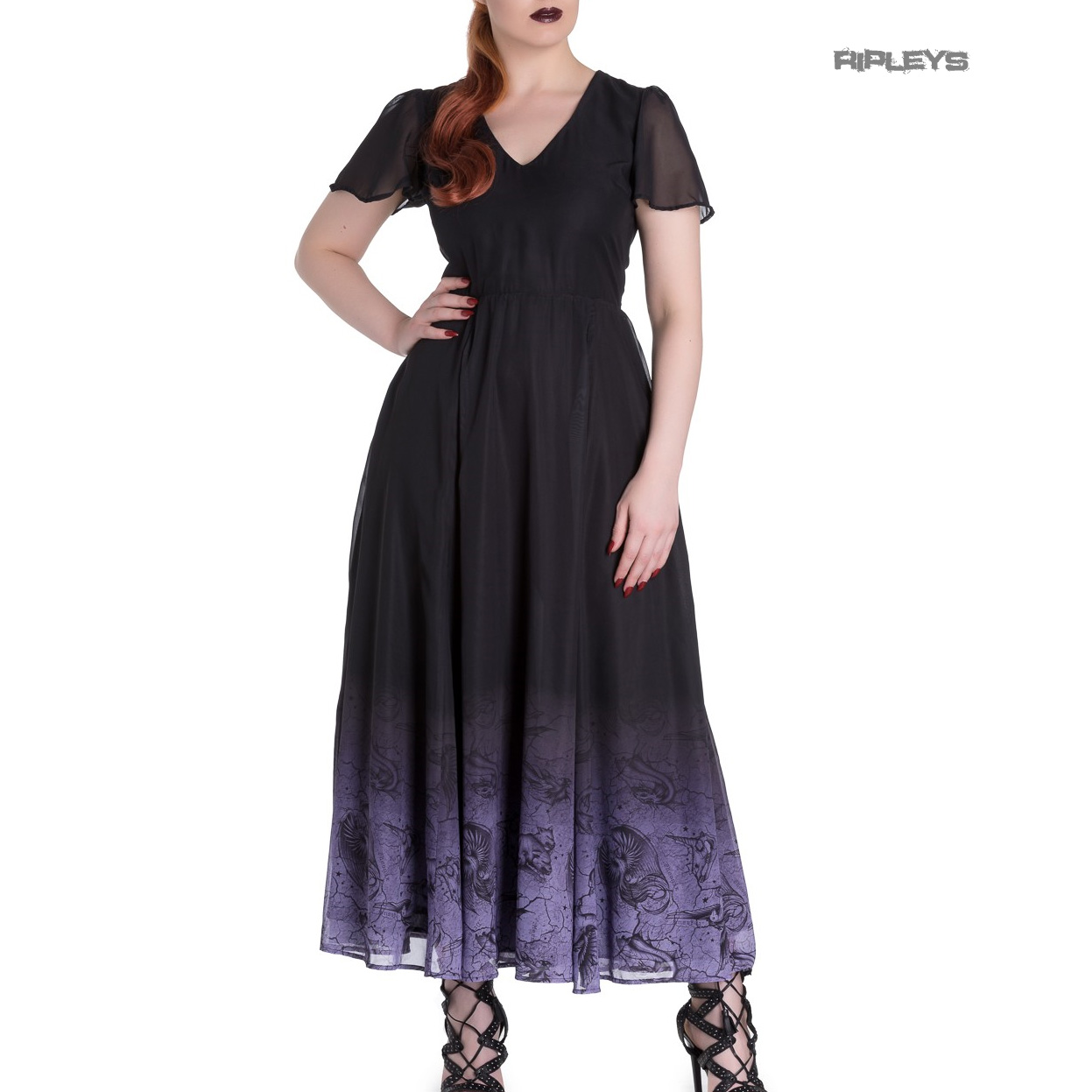 Hell-Bunny-Spin-Doctor-Goth-Maxi-Dress-EVADINE-Purple-Black-All-Sizes thumbnail 6