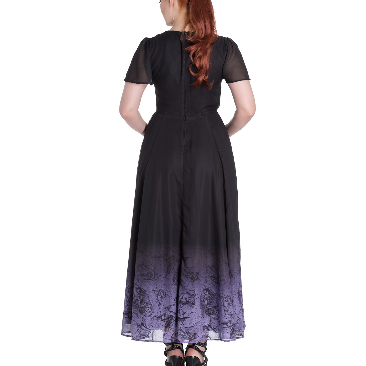 Hell-Bunny-Spin-Doctor-Goth-Maxi-Dress-EVADINE-Purple-Black-All-Sizes thumbnail 12