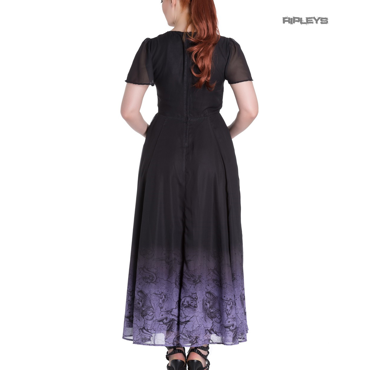 Hell-Bunny-Spin-Doctor-Goth-Maxi-Dress-EVADINE-Purple-Black-All-Sizes thumbnail 13