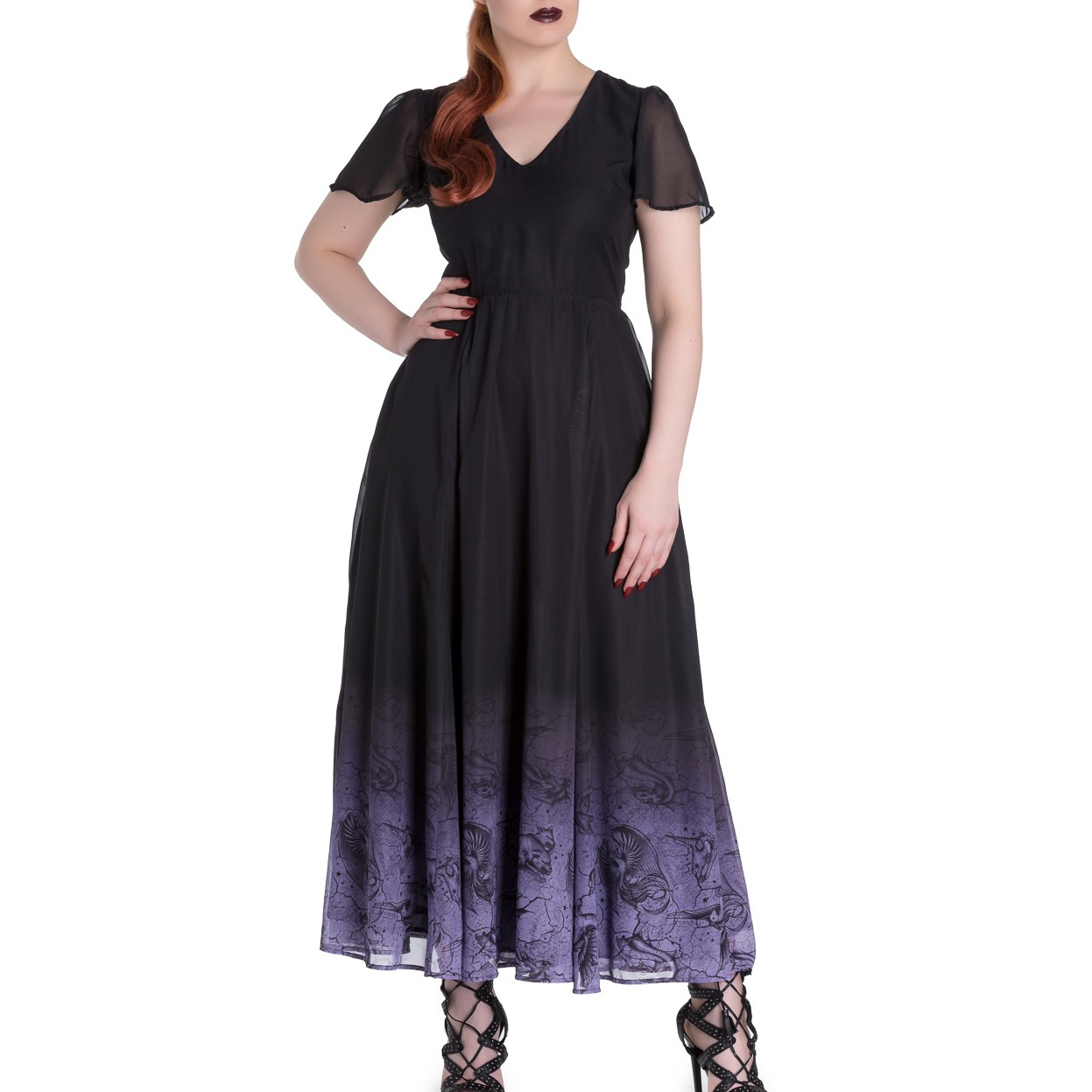 Hell-Bunny-Spin-Doctor-Goth-Maxi-Dress-EVADINE-Purple-Black-All-Sizes thumbnail 11