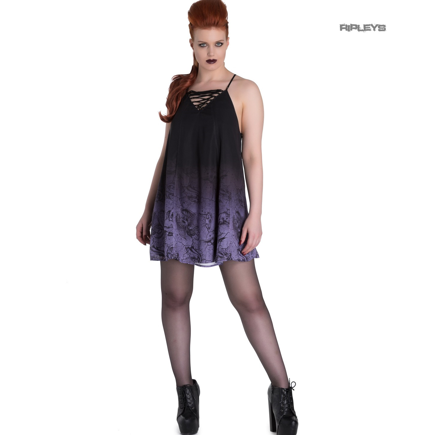 Hell-Bunny-Spin-Doctor-Goth-Lace-Up-Mini-Dress-EVADINE-Purple-Black-All-Sizes thumbnail 6