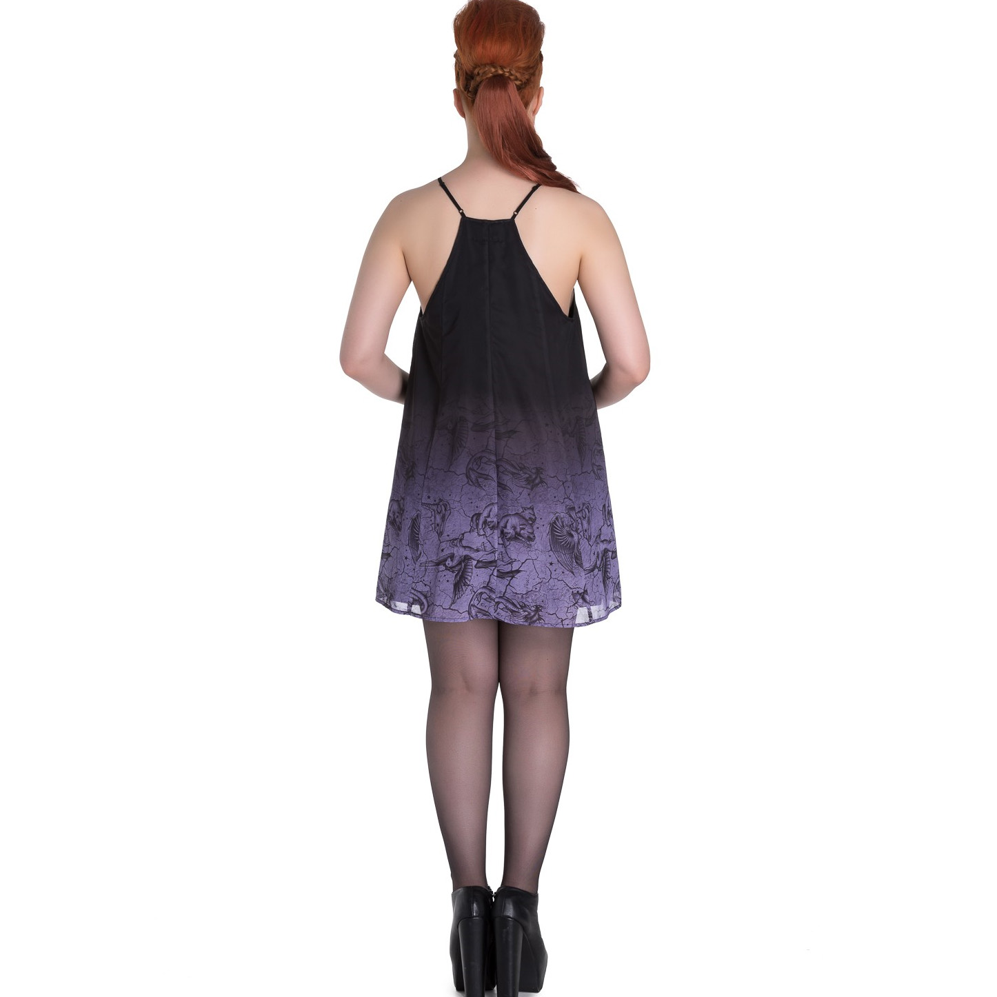 Hell-Bunny-Spin-Doctor-Goth-Lace-Up-Mini-Dress-EVADINE-Purple-Black-All-Sizes thumbnail 5