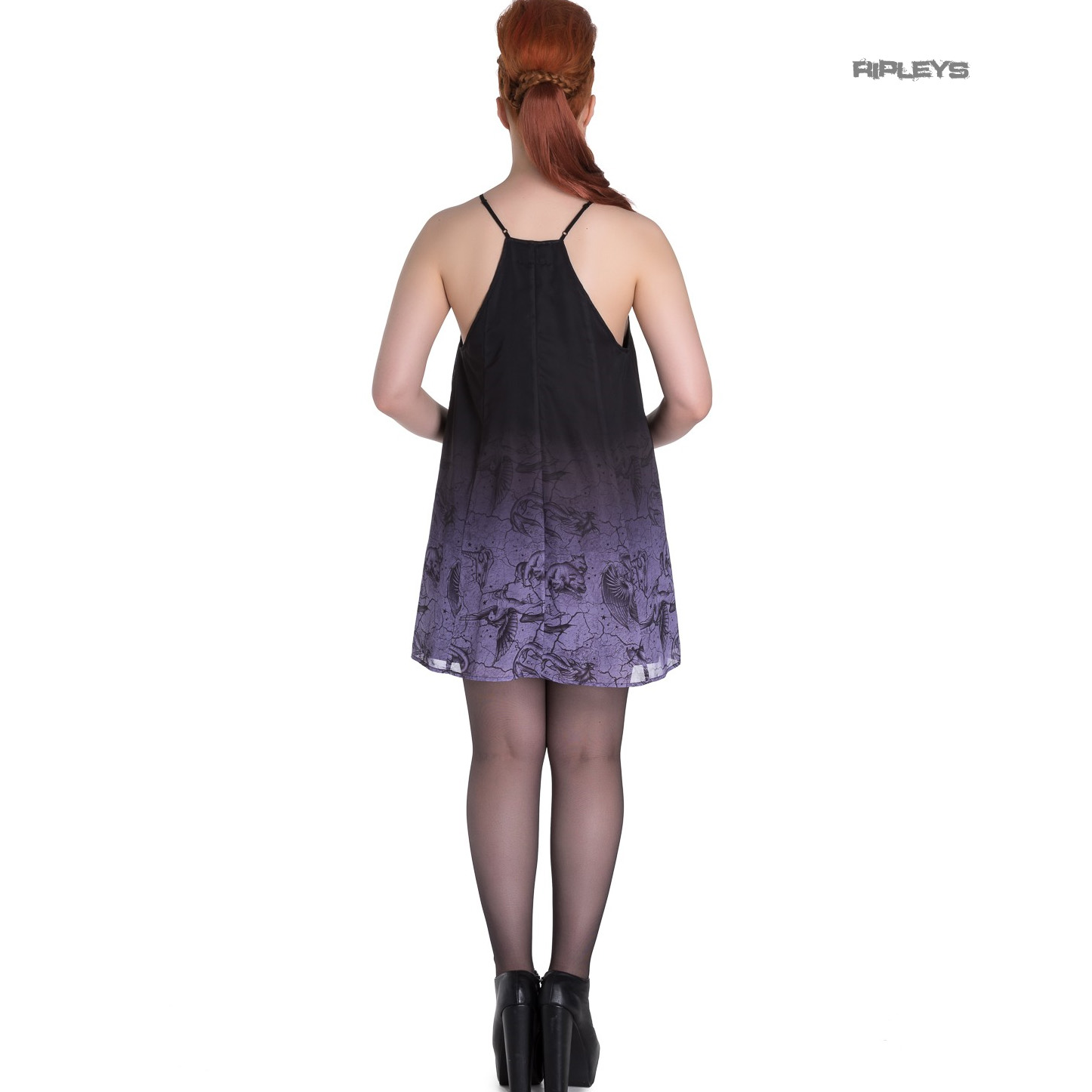 Hell-Bunny-Spin-Doctor-Goth-Lace-Up-Mini-Dress-EVADINE-Purple-Black-All-Sizes thumbnail 4