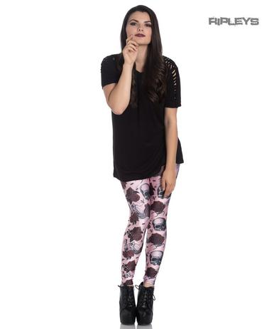 Hell Bunny Gothic Pink Leggings SULLEN Skulls Red Roses All Sizes