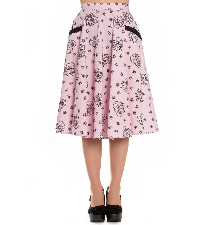 Hell-Bunny-Pin-Up-Rockabilly-50s-Skirt-KEEPSAKE-Skulls-Hearts-Pink-All-Sizes