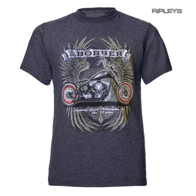 Official T Shirt GREAT AMERICAN BOBBER Motorcycle Wings Grey All Sizes