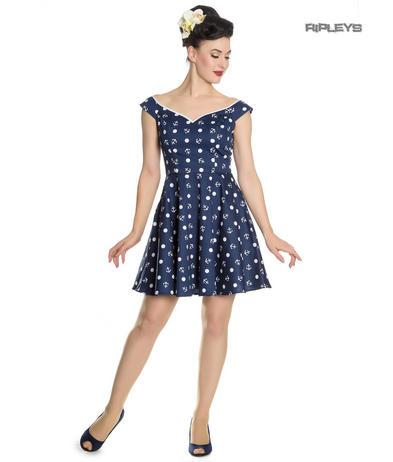3ec67e56f08 Hell Bunny Navy Blue Nautical Pinup Mini Dress MARINA Polka Dot Anchor All  Sizes