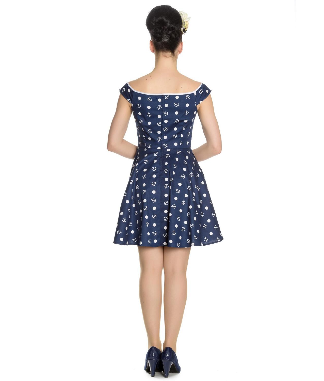 Hell-Bunny-Navy-Blue-Nautical-Pinup-Mini-Dress-MARINA-Polka-Dot-Anchor-All-Sizes thumbnail 5