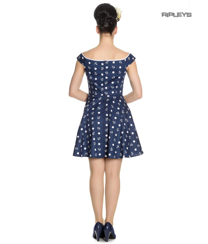 Hell-Bunny-Navy-Blue-Nautical-Pinup-Mini-Dress-MARINA-Polka-Dot-Anchor-All-Sizes thumbnail 8