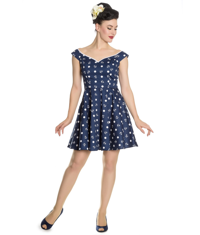 Hell-Bunny-Navy-Blue-Nautical-Pinup-Mini-Dress-MARINA-Polka-Dot-Anchor-All-Sizes thumbnail 7