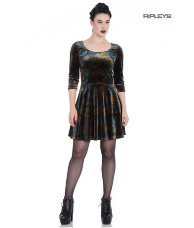 Hell Bunny Spin Doctor Skater Mini Dress FORTUNA Gold Coins Velvet All Sizes