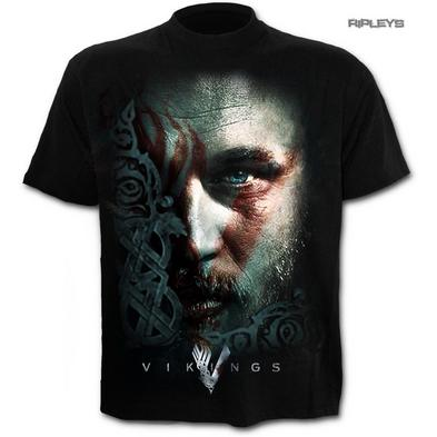 SPIRAL Direct Unisex T Shirt Vikings TV Series Ragnar FACE Warpaint All Sizes