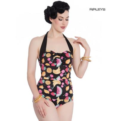 Hell Bunny Halterneck 50s Black TUTTI FRUTTI Swimsuit Fruit Cherry All Sizes