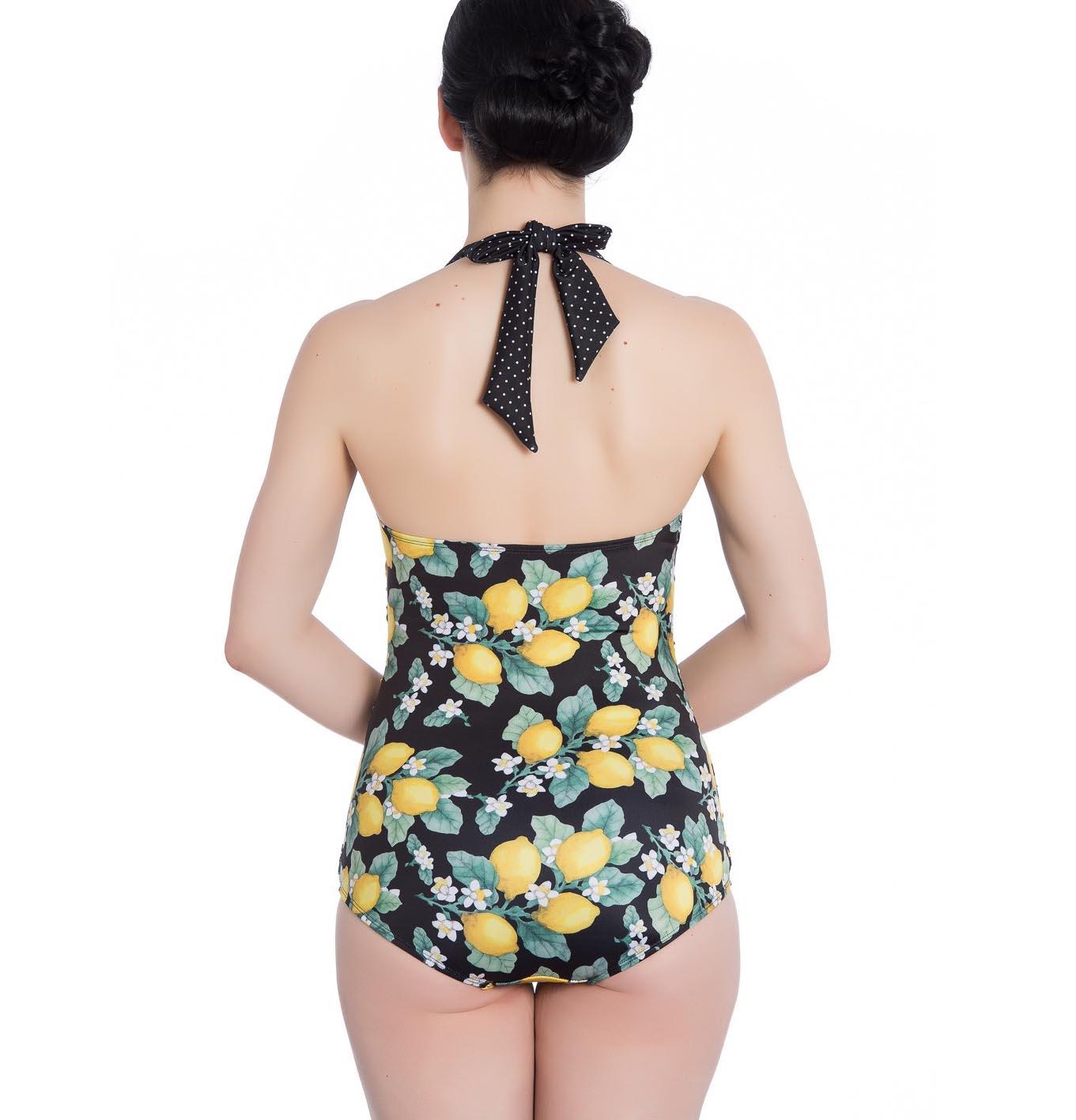 Hell-Bunny-Halterneck-50s-Black-LEMONADE-Swimsuit-Lemons-Polka-Dot-All-Sizes thumbnail 5
