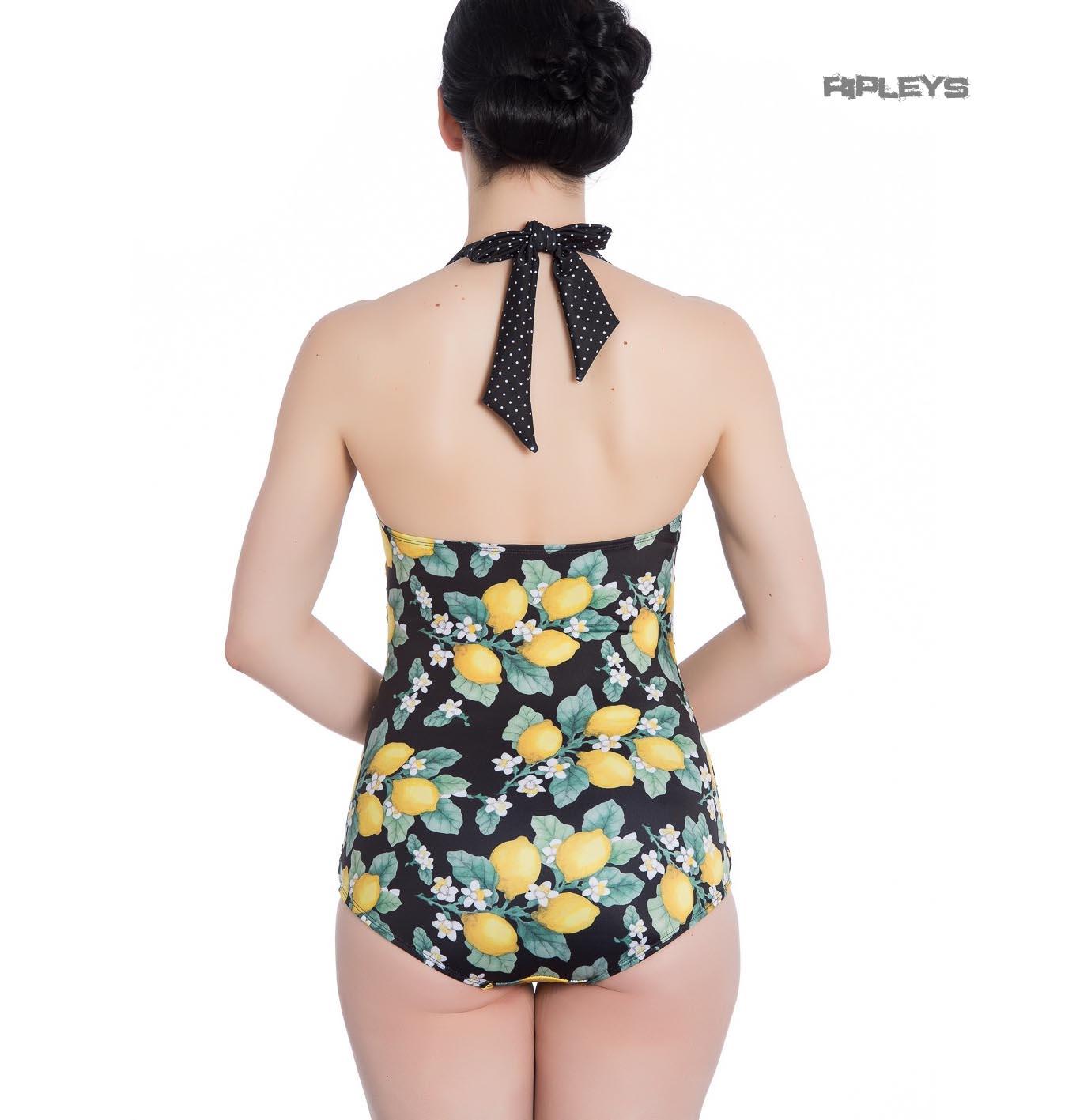 Hell-Bunny-Halterneck-50s-Black-LEMONADE-Swimsuit-Lemons-Polka-Dot-All-Sizes thumbnail 4