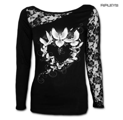 SPIRAL Direct Ladies Black Gothic DOVE Love Heart Lace Top L/Sleeve All Sizes