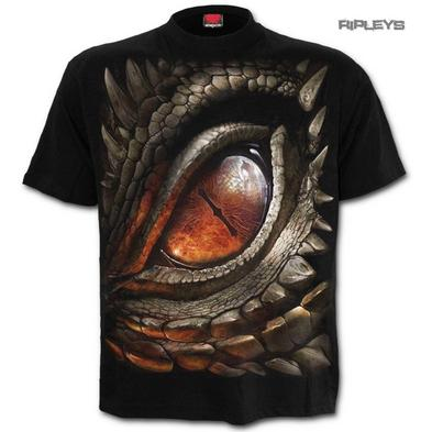 SPIRAL Direct Unisex T Shirt Biker Goth Smaug DRAGON EYE Fire Flames All Sizes