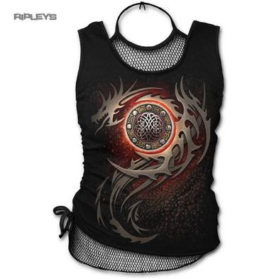 Spiral Direct Ladies Black Goth Vest Top Tribal DRAGON Eye Mesh Net All Sizes