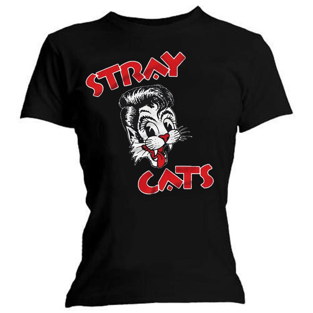 69f333f3bc66 Sentinel Official Ladies T Shirt Rockabilly STRAY CATS Classic Cat Logo All  Sizes