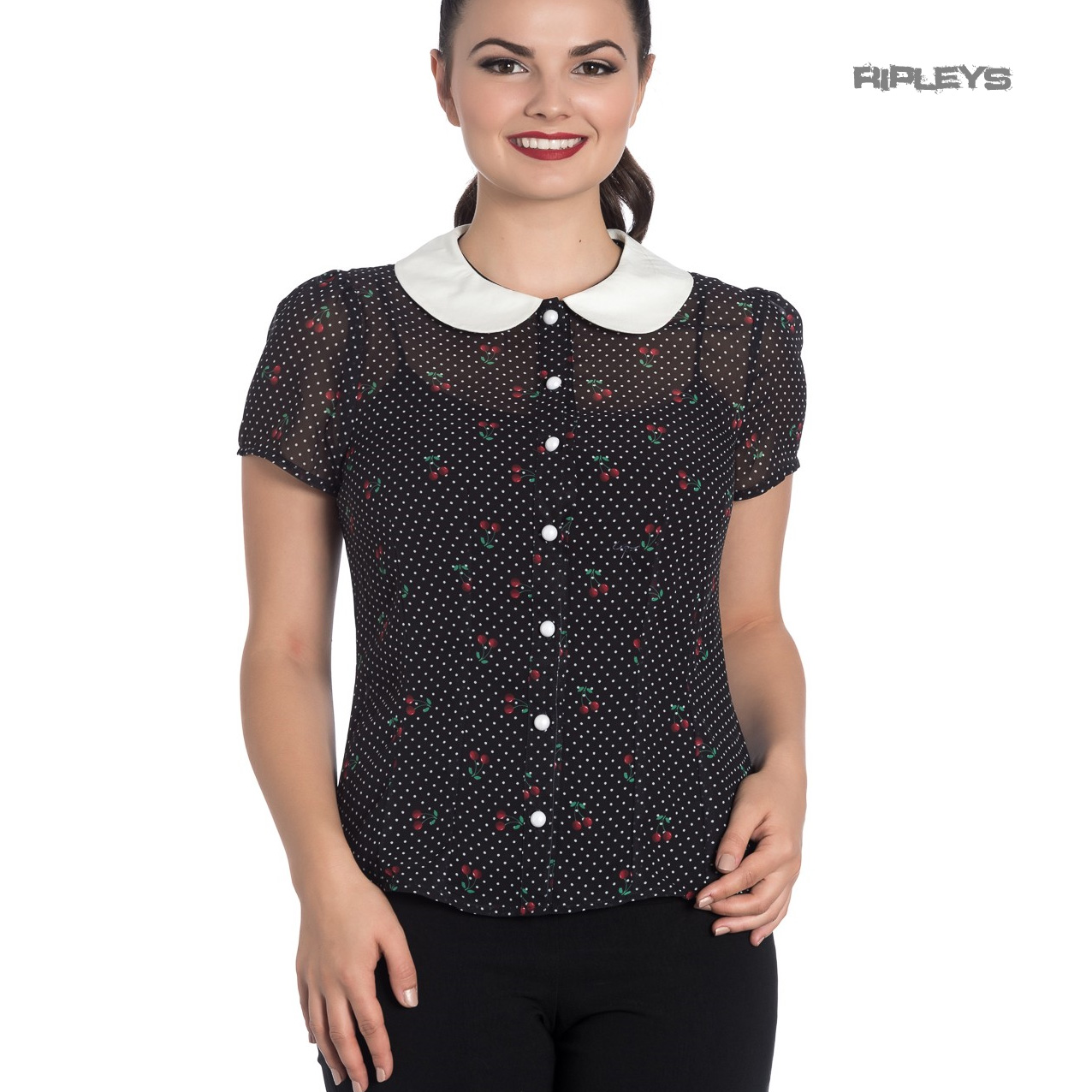 Hell-Bunny-Shirt-Top-Black-50s-Polka-Dot-SOPHIE-Blouse-Cherries-Cherry-All-Sizes thumbnail 6