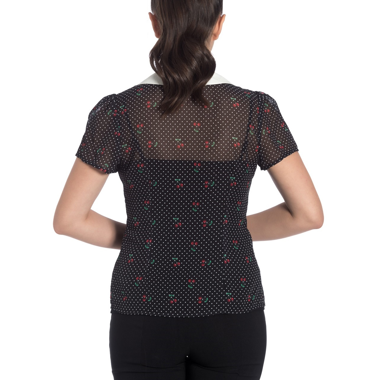 Hell-Bunny-Shirt-Top-Black-50s-Polka-Dot-SOPHIE-Blouse-Cherries-Cherry-All-Sizes thumbnail 5