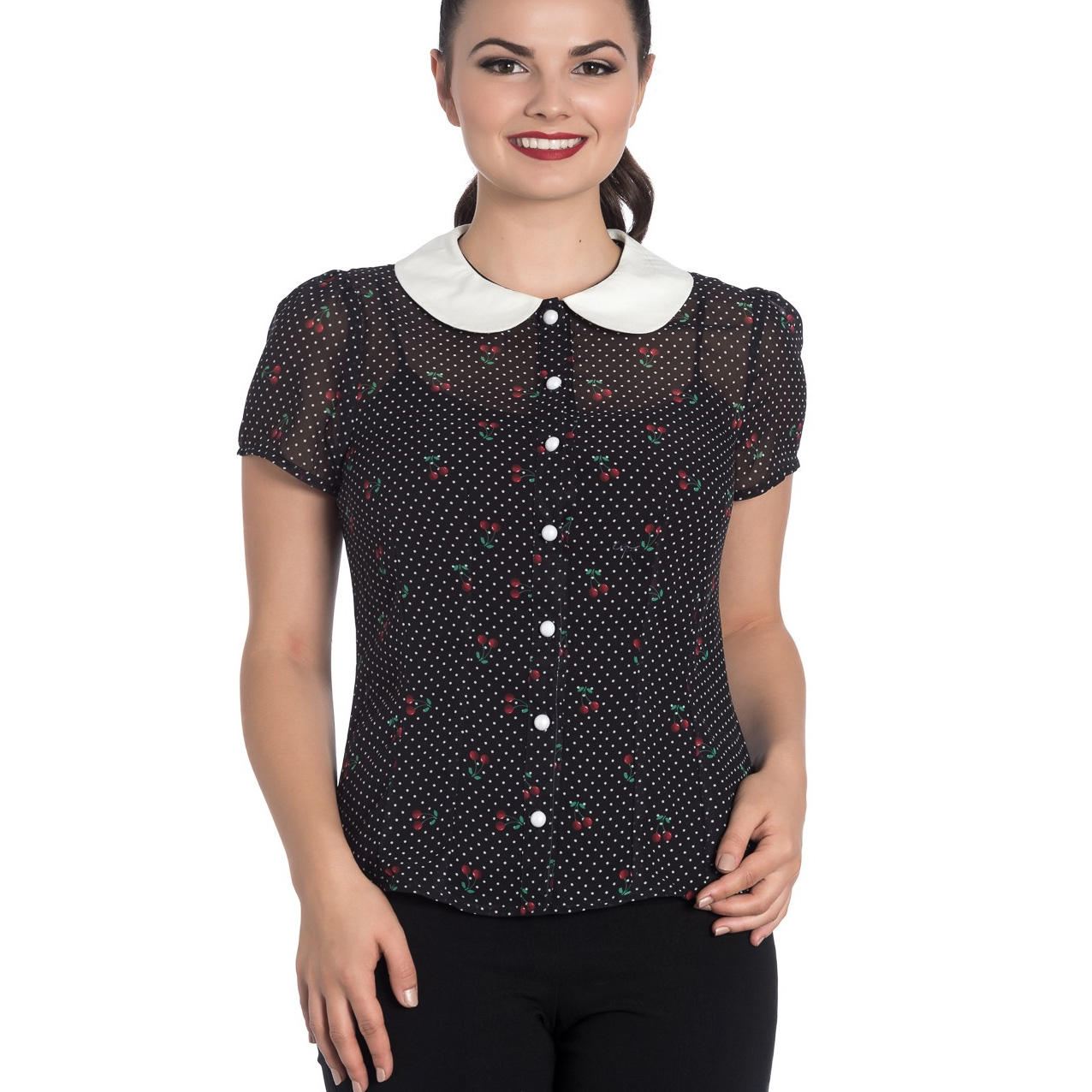 Hell-Bunny-Shirt-Top-Black-50s-Polka-Dot-SOPHIE-Blouse-Cherries-Cherry-All-Sizes thumbnail 11